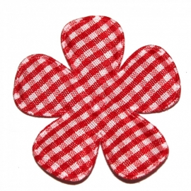 Rood gingham ruit bloem 47mm
