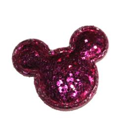 Muis hoofdje glitter fuchsia
