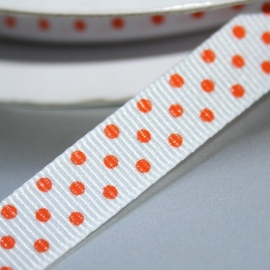WIT Geweven ORANJE polkadot lint 9mm breed
