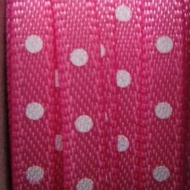 roze satijn bandje met witte stippen