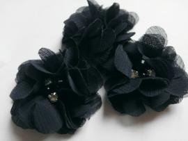 Chiffon bloem strass en parel navy