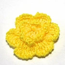 Geel gehaakte bloemen (25mm)