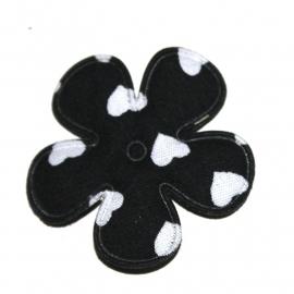 35mm bloem met hartjes print zwart