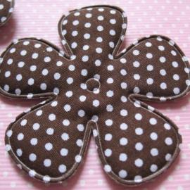 65mm bruin polkadot bloem stof