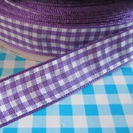 Mooi Paars satijn gingham ruitband 15mm breed