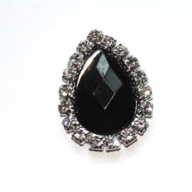 druppel strass steen zilver zwart