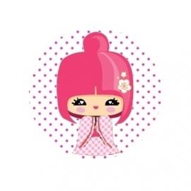 (FB12) kokeshi roze ruit