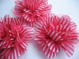 10cm streep bloem  felroze