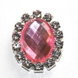 strass steen ovaal roze
