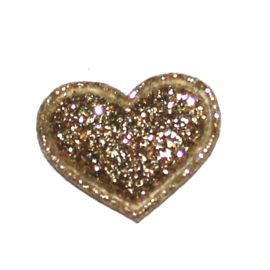 mini glitter hartje goud (17mm)