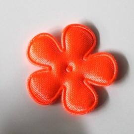 Satijn bloem neon oranje 25mm
