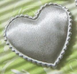 Satijn hart zilver grijs