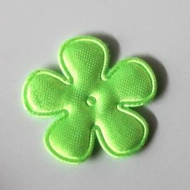 Satijn bloem neon groen 25mm