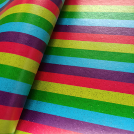 lapje pu leer glitter regenboog streep