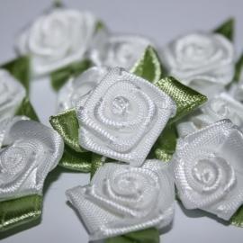 Roosje van satijn met blad wit