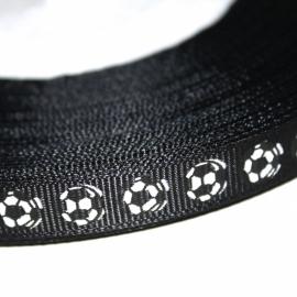 Voetbal lint 10mm zwart p/m