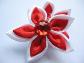 dubbel kleurige satijn bloem met strass roodl/wit 35mm
