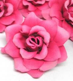 stoffen roosje met steeltje 4cm Fuchsia