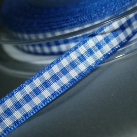 Royal blauw boeren ruit band 10mm breed