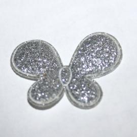 glitter vlinder zilver p/s