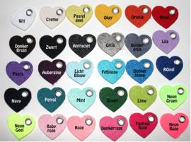 vilten sleutelhanger  hartje ( 31 kleuren)