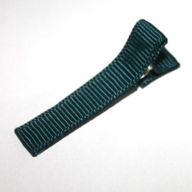 Alligator clip bekleed met donker groen grosgrain lint