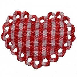 Rood / wit stoffen ruit hartje met kantje ~ 1 stuks