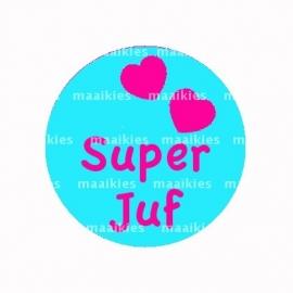 (FB391) Super juf blauw /fuchsia