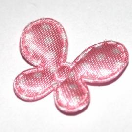 Vlinder dot roze (2bij 2,5cm)