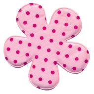 47mm polkadot bloem stof roze/felroze