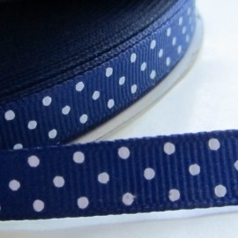 ROYAL BLUE grosgrain geweven band polkadot  5m