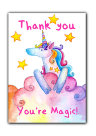 Ansichtkaart Thank you, you're magic unicorn