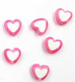 Hartjes kraal roze wit (8mm)