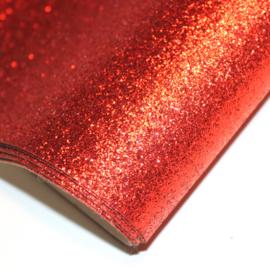 lapje imitatieleer glitter rood