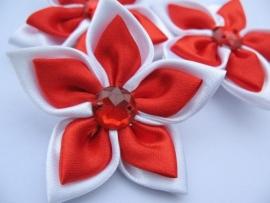 Grote dubbel kleurige satijn bloem met strass rood/wit