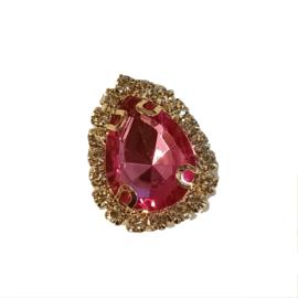 druppel strass steen goud fuchsia