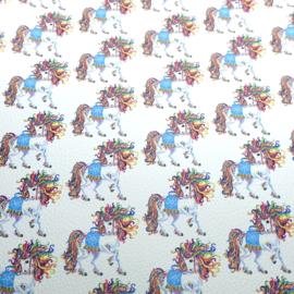 pu leer wit  paarden print kleurig