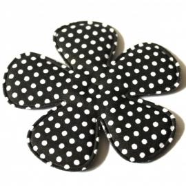 75mm Polkadot bloem zwart stof