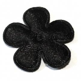25mm satijn bloem zwart