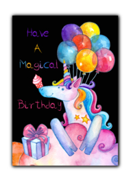 Ansichtkaart verjaardag unicorn