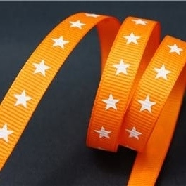 10mm oranje ster grosgrain p/m