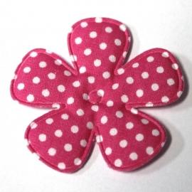 47mm polkadot bloem stof felroze