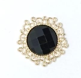 luxe steen goud zwart strass
