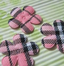 Bloem schotse ruit roze 35mm