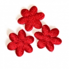 1 mini bloemetjes satijn rood  (10mm)