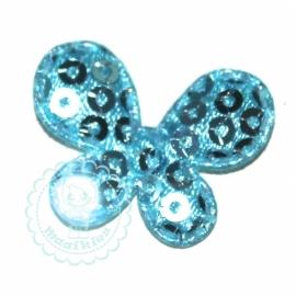 Vlinder paillet blauw