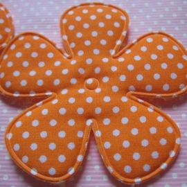 65mm oranje polkadot bloem stof
