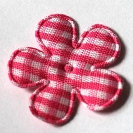 25mm ruit bloem felroze