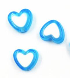 Hartjes kraal blauw wit (8mm)