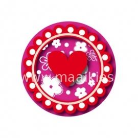(FB140) Hart bloem fuch/rood